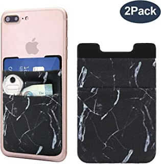 Cell Phone Card Holder, Stick on Wallet for Back of Phone, 3M Adhesive Ultra Slim Phone Pocket ID Credit Card Holder Sleeves Pouch Compatible iPhone, Samsung Galaxy, All Smartphones - 2Pack (Marble)