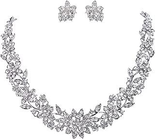Wedding Cluster Flower Leaf Necklace Earrings Set Clear Austrian Crystal Silver-Tone