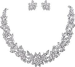 EVER FAITH Wedding Cluster Flower Leaf Necklace Earrings Set Clear Austrian Crystal Silver-Tone