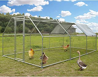 Large Metal Chicken Coop Walk-in Poultry Cage Hen Run House Rabbits Habitat Cage Flat Roofed Cage with Waterproof and Anti-Ultraviolet Cover for Outdoor Backyard Farm Use (9.2' L x 18.4' W x 6.4' H)
