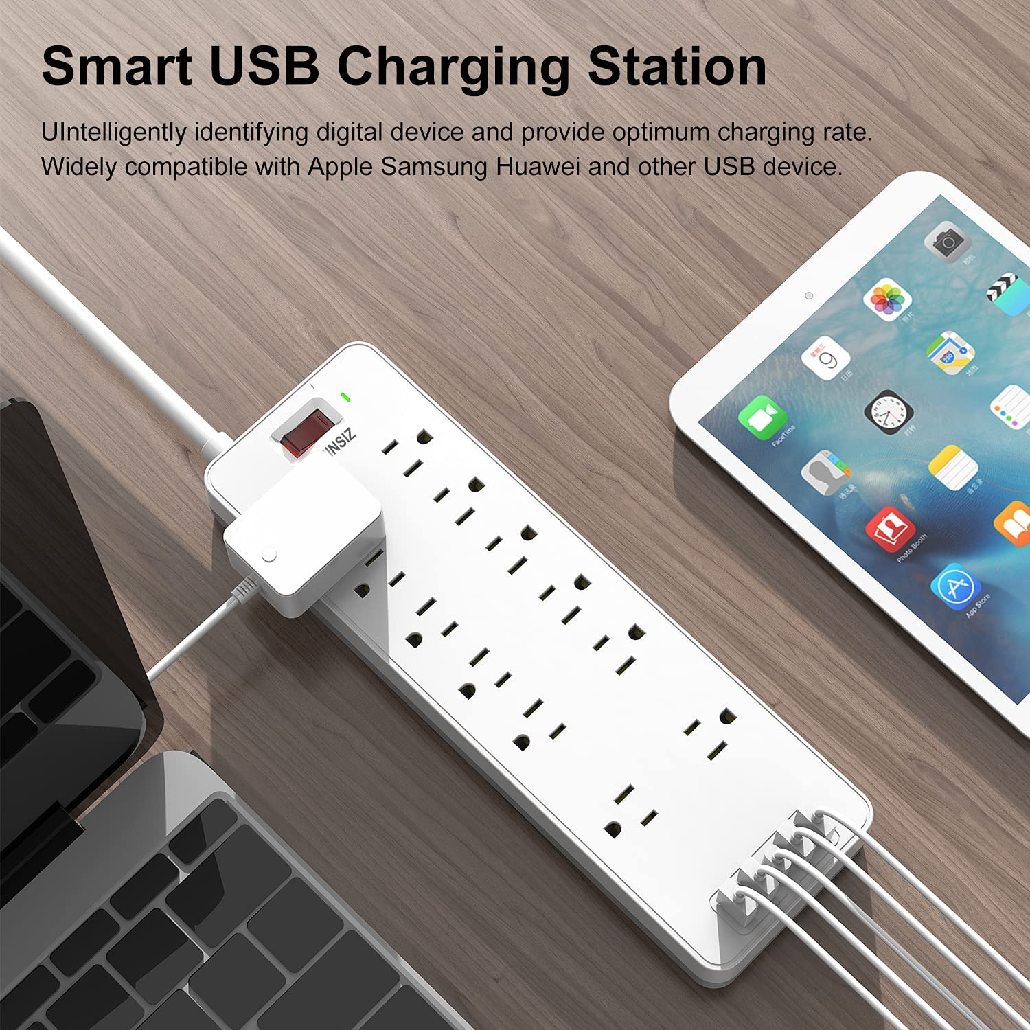 Power Strip, YOHINSIZ Surge Protector with 12 outlets and 4 USB Ports & 1 USB-C Port(5V/3A),6FT Extension Cord Flat Plug for Home&Office,Black/White (White)