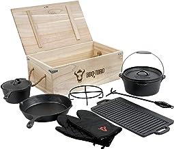 BBQ-Toro Dutch Oven Set in Holzkiste mit Dutch Oven und mehr | Gusseisen - bereits eingebrannt 8-teilig