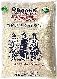 Three Ladies USDA Organic Thai Long Grain Jasmine Rice 5 Pounds, Product of Thailand