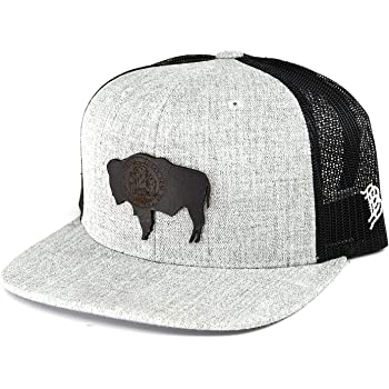 OSFA//Heather Grey//Black Branded Bills /'New Mexico Native Leather Patch Hat Curved Trucker