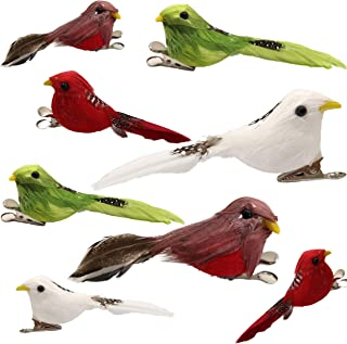 Athoinsu Set of 8 Artificial Feather Robin Bird with Clips for Christmas Craft Decorations Gifts Colorful Handmade Ornament for Home Yard Garden Lawn Party Favors (Styel 1)