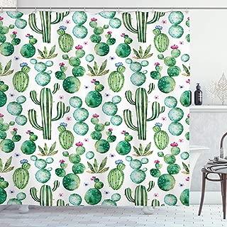 Ambesonne Green Shower Curtain, Mexican Texas Cactus Plants Spikes Cartoon Like Print, Cloth Fabric Bathroom Decor Set with Hooks, 70