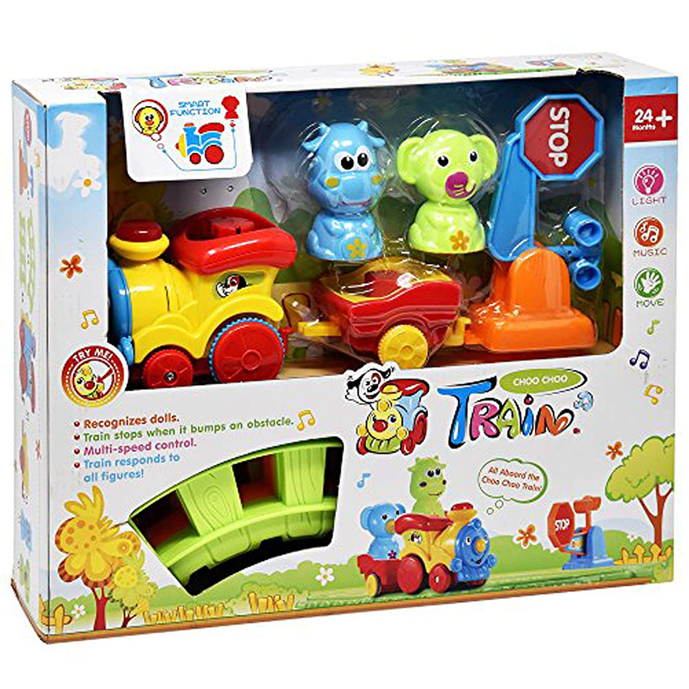 Train Set for Toddlers - Music Train Toy Includes Choo Choo Train Tracks and Motorized Train Cars with Animals - Educational Playset for Boys and Girls