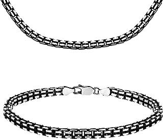 Tuscany 纯银氧化蚀刻槽式盒子链和手镯 51 厘米/20 厘米/8 英寸