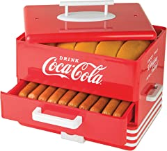 Nostalgia HDS248COKE Large Coca-Cola Diner-Style Steamer, 24 Hot Dogs and 12 Bun Capacity, Perfect For Breakfast Sausages, Brats, Vegetables, Fish, Red