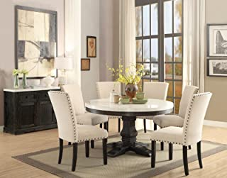 ACME 7PC Round White Marble Top Weathered Black Finish Wood Dining Table Set