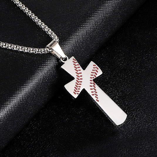 XOYOYZU Cross Necklace for Men Boys Cross Pendant Strength Bible Verse Stainless Steel Necklaces