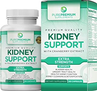 Premium Kidney Support Supplement by PurePremium (Kidney Cleanse Supplement) Potent Herbal Ingredients for Urinary Tract and Bladder Health – Cranberry Extract, Astragalus and Uva Ursi Leaf - 60 Caps