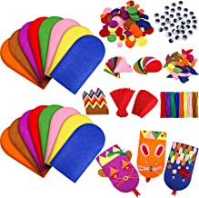 16 Pieces Felt Hand Puppet Craft Kit Kids Craft Felt Sock Puppet Making Set with Pompoms Googly Wiggle Eyes for Boys Girls Making Your Own Puppets Party Supplies