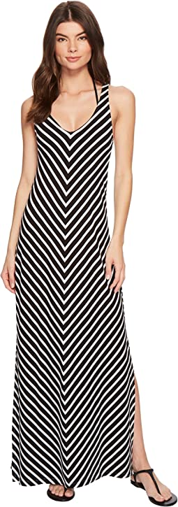 Breton Stripe Racerback Maxi Dress Cover-Up