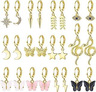 Udalyn 12 pares de pendientes de oro y plata para mujer, pendientes de aro pequeños, aretes de mariposa, serpiente, estrel...