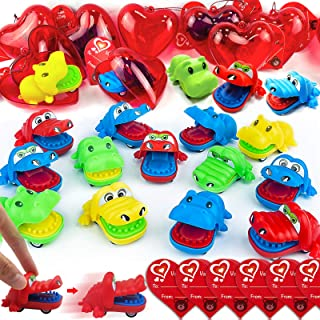 28 PCS Kids Valentines Toys Cars 28 Crocodile Hippo Pull Back Car Filled Heart Valentines Gift Cards For Kids Classroom Pr...