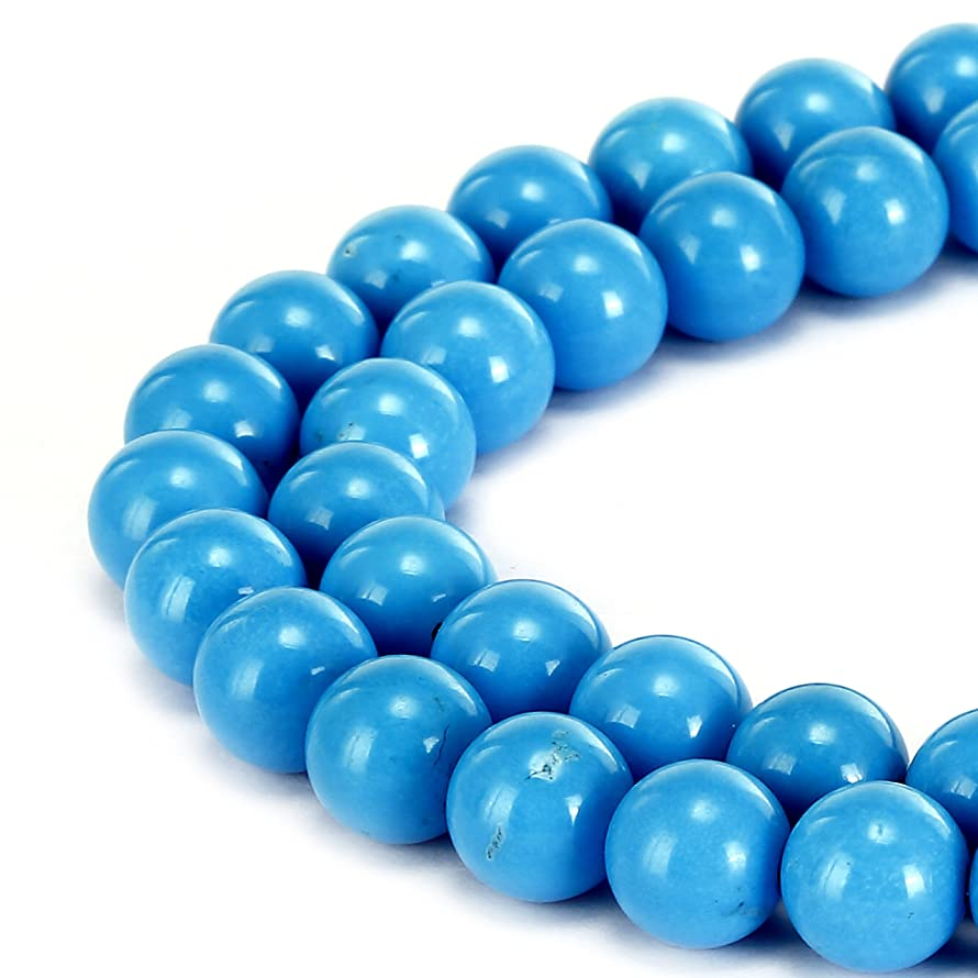 BRCbeads Gorgeous Natural Sky Blue Turquoise Gemstone Smooth Round Loose Beads 10mm Approxi 15.5 inch 35pcs 1 Strand per Bag for Jewelry Making