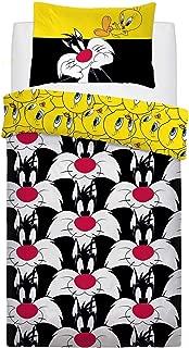 Looney Tunes Sylvester & Tweety Duvet Cover Set (Twin) (Black/Yellow)