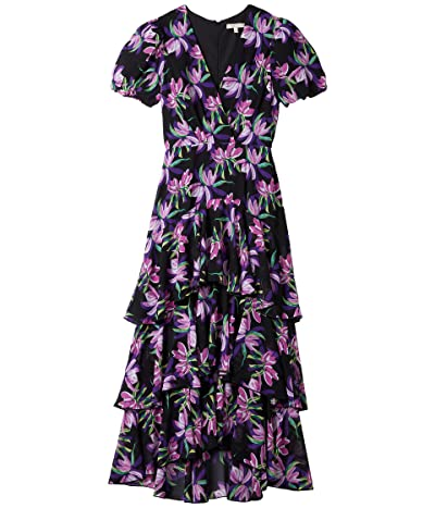 WAYF Leger Tiered Short Sleeve Midi Dress (Black Birds of Paradise) Women