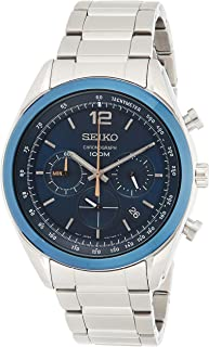Seiko - SSB091P1 - Montre Homme - Quartz Chronographe - Cadran Bleu - Bracelet Acier Gris