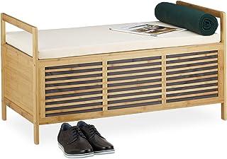 Relaxdays Banco Almacenamiento con Cojín para Baño, Recibidor, Salón y Dormitorio, Bambú, marrón, 50 x 93 x 48 cm