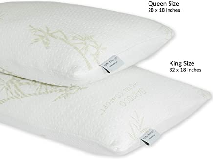 Hotel Comfort Premium Bamboo Memory Foam Pillow King Size - Set of 2. Ultra Cool Hypoallergenic Washable Bamboo Cover USA Designed