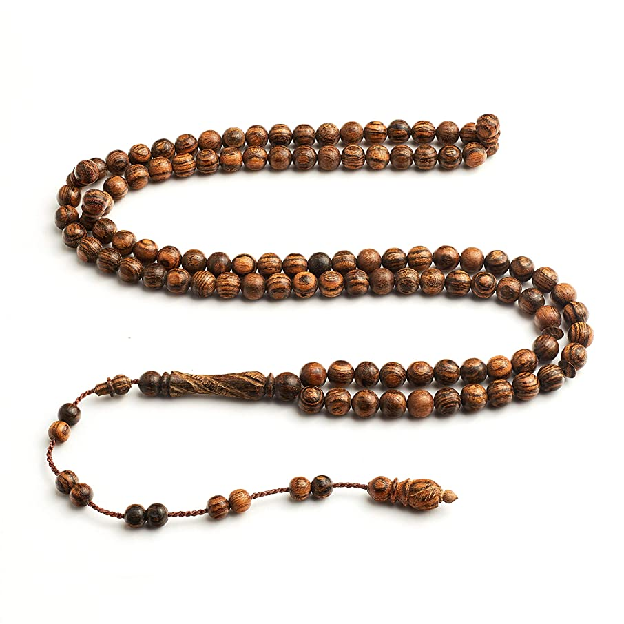 Handcrafted Islamic Prayer Beads- Signature InfinityBeads by BasmalaBeads- Oranmental Engravings (Seeker (10mm), African Bocote Wood)