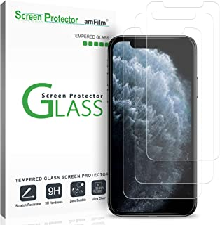 amFilm (3 Pack) Screen Protector Glass for iPhone 11 Pro (2019), iPhone XS / 10S (2018), and iPhone X / 10 (2017) - Easy Installation Tempered Glass Screen Protector Film (5.8 Inches)