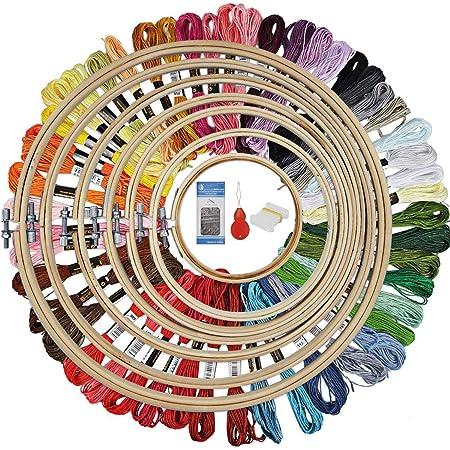 Litthing Stickerei Set,Anf/änger Stickerei Set,Kreuzstich Starter kit Stickrahmen aus Kunststoff farbliches Garn und Werkzeugen,f/ür Erwachsene und Kinder Anf/änger Stickpackungen mit Stickmustern
