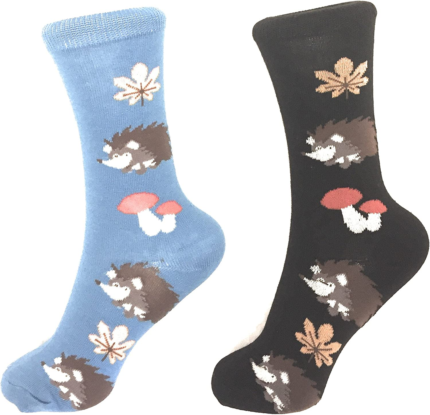 2 Pack Socks Hedge Hogs Pattern Novelty Crew Socks Fun Fashion Casual Comfy Cozy (2 Pack)