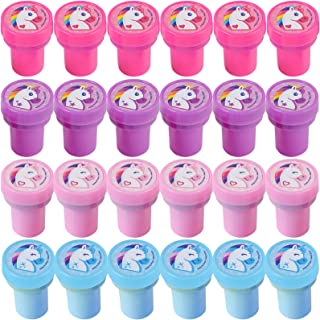 Bedwina Unicorn Stampers - (Pack of 24) Neon Rainbow Self-Inking Rubber Stamps and Unicorn Party Favors for Kids, Crafts a...