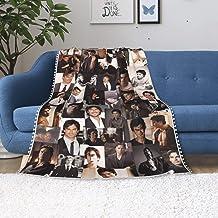 The Vampire Diaries Damon Salvatore Ian Somerhalder Blanket Set Soft Cozy Light Anti-pilling Fleece Pompom Fringe Blanket ...