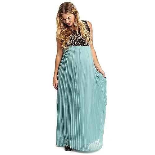 6f16efef2661 PinkBlush Maternity Pleated Chiffon Lace Top Maxi Dress