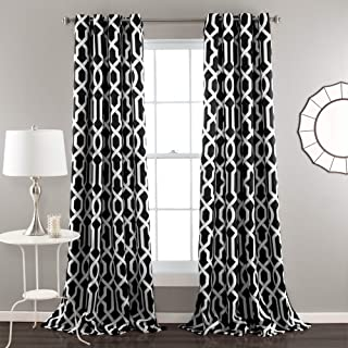 black trellis curtains