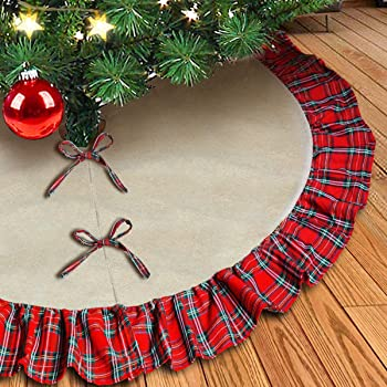 King VHC Brands Christmas Holiday Decor Whitton Red Tree Skirt