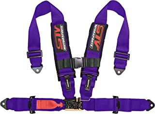 "STVMotorsports 4 Point Harness - 2"" Pads - Universal V-Type - Bolt in - Latch and Link Quick Release - for Off-Road, UTV, Trucks, Side by Side (Single) (Purple)"