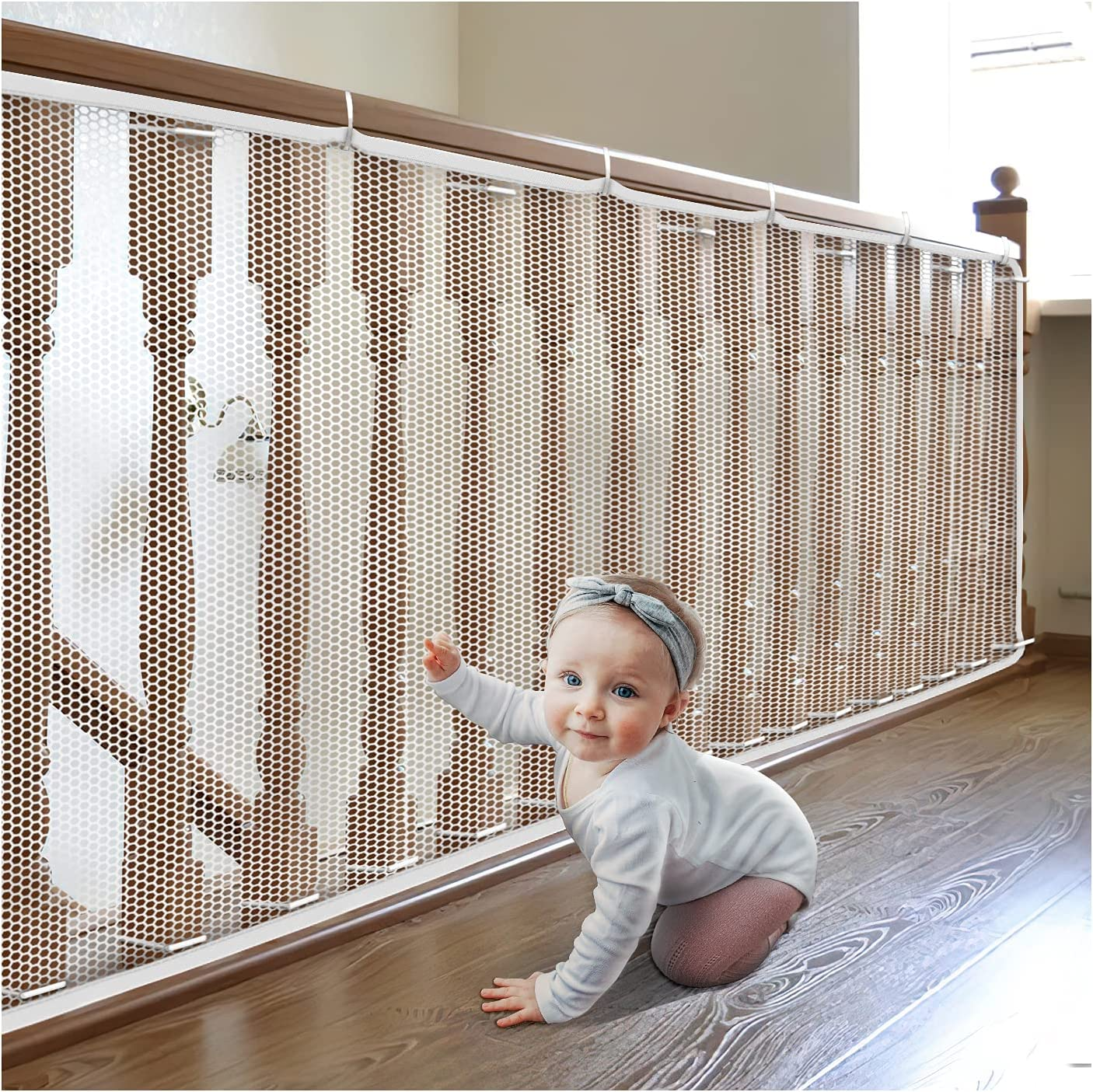 TUOERQI-Banister-Guard-15ft L×3ft H-Balcony-Safety-Net - Improve Safety of Children. The Stairway Net is Durable. Mesh Rail Guard is a Necessity for Children's Safety. Safety Netting for Railings