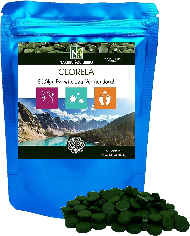 Clorela / 90 comprimidos de 505mg / NAKURU Equilibrio/Analizado y acondicionado en Francia/El Alga Beneficiosa Purificadora! (90 Tabletas de 505mg / ...