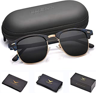Mens Clubmaster Sunglasses Polarized Womens: UV 400 Protection,by LUENX with Case