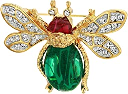 Gold Two-Tone Rhine Crystal Emerald Cabochon Body Ruby Cabochon Head Bee Pin