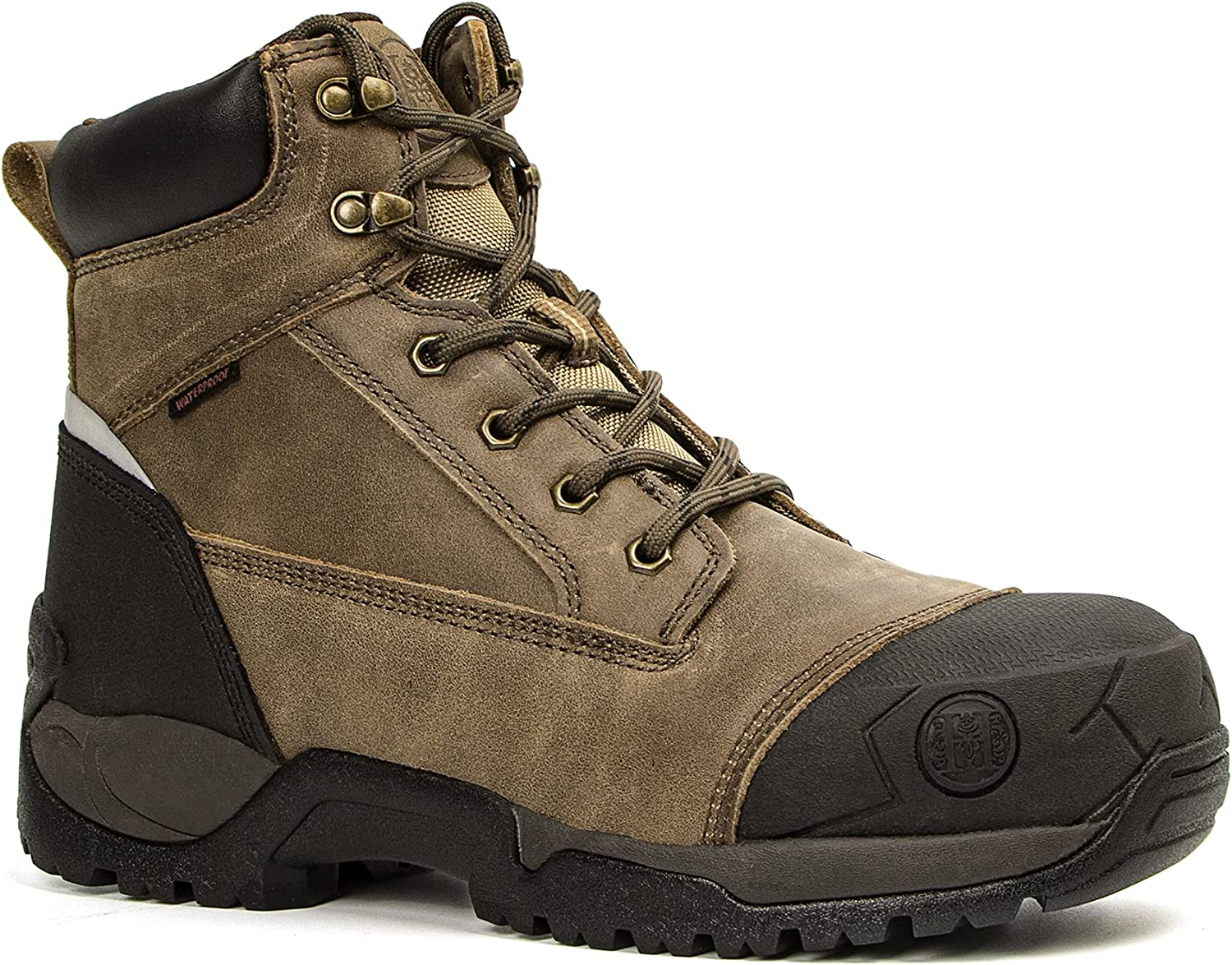 """Montwell Mens work boots, 6"""" Composite Toe Waterproof Lightweight Work Boots for Men, Slip & Puncture Resistant Safety EH Wide Working Shoes : Clothing, Shoes & Jewelry"""