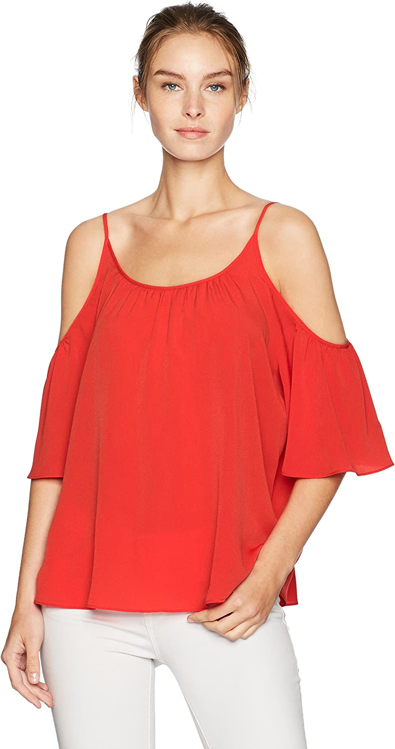 French Connection Womens Summer Crepe Light Cold Shoulder Top Dress
