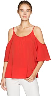 French Connection Women's Summer Crepe Light Cold Shoulder Top