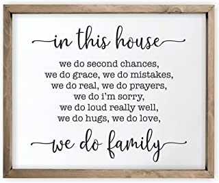 in This House We Do Family Framed Rustic Wood Farmhouse Wall Sign 12x15