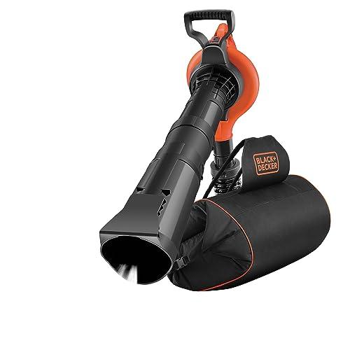 BLACK+DECKER GW3031BP-QS Aspirateur, Souffleur, Broyeur de feuilles filaire - 3000 W - Volume d'aspiration : 14 m3/min - Capacité : 70 L - 1 embout concentrateur, 1 griffe râteau et 1 sangle