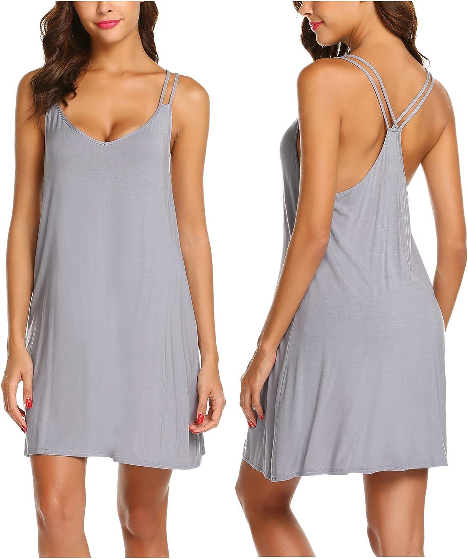 Ekouaer Women Nightdress Soft Sleepshirts Sleeveless Pajama Dress Short Sleepwear Causal Nightgowns at  Women's Clothing store