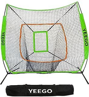 Baseball & Softball Practice Net, YEEGO 7x7 Baseball Hitting Pitching Batting Cating Training Net with Carry Bag & Bow Frame & Bonus Strike Zone