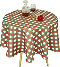 Biscaynebay Christmas Printed Checkered Table Cloth, Water Resistant Fabric Tablecloth, Plaid Green/Red 70 Inch Round