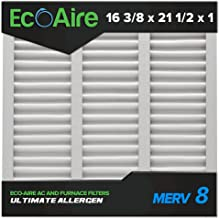Eco-Aire 16 3/8x21 1/2x1 MERV 8, Pleated Air Filter, 16 3/8 x 21 1/2 x 1, Box of 6, Made in the USA