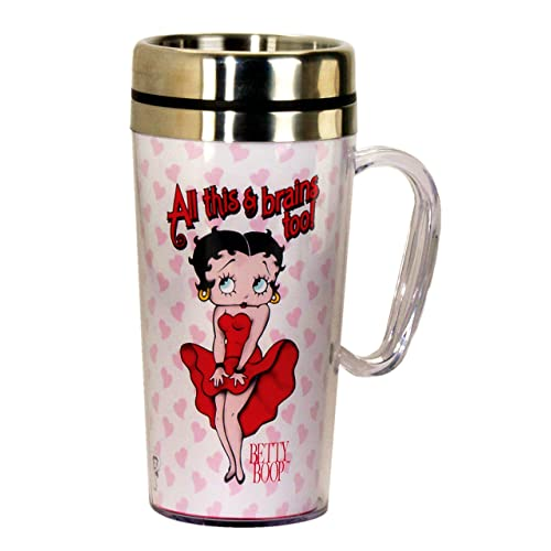 Betty Boop Brains Insulated Travel Mug, White